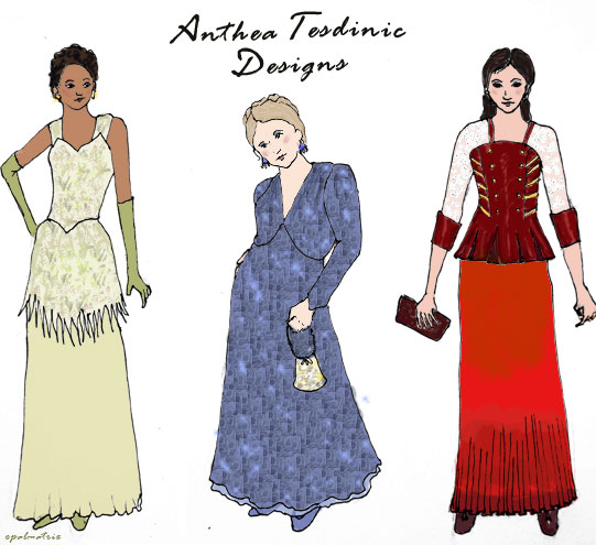 Pictures of three evening gowns designed by Anthea Tesdinic, as described in the text of the story